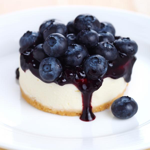 [Image: A mini cheesecake topped with delicious fresh blueberries. ]